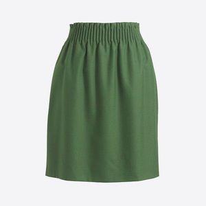 J Crew woodland green stretch waist wool skirt